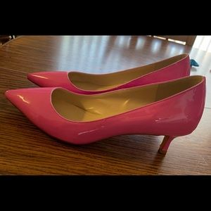 Hot Pink Kitten Heels with pointy toe